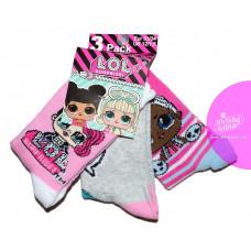 Dievčenské ponožky LOL 3 kusy v balení vzor 1