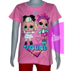 Dievčenské letné tričko LOL tmavo ružové č.116