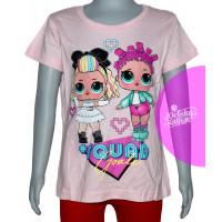 Dievčenské letné tričko LOL bledo ružové č.116