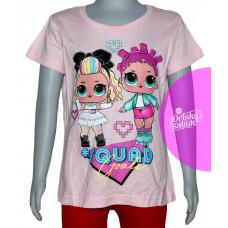 Dievčenské letné tričko LOL bledo ružové