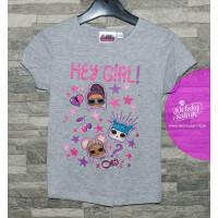 Dievčenské letné tričko LOL šedá