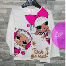 Dievčenské tričko s dlhým rukávom LOL biele