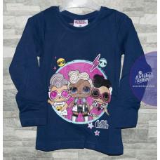 Dievčenské tričko s dlhým rukávom LOL modré