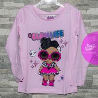 Dievčenské tričko s dlhým rukávom LOL bledo ružové