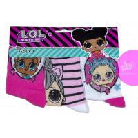 Dievčenské ponožky LOL 3 kusy v balení vzor 4