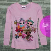 Dievčenské tričko s dlhým rukávom LOL ružové