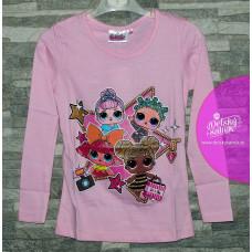 Dievčenské tričko s dlhým rukávom LOL ružové 122