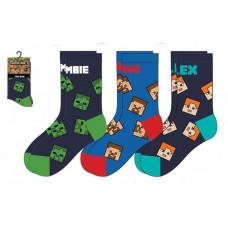 Chlapčenské ponožky Minecraft 3 kusy farebné