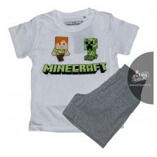 Chlapčenské letné pyžamo Minecraft biele