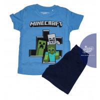 Chlapčenské letné pyžamo Minecraft modré