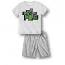 Chlapčenské letné pyžamo Minecraft biele1