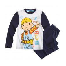Pyžamo Bob staviteľ s dlhým rukávom biele