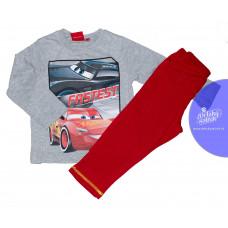 Chlapčenské dlhé pyžamo Disney Cars šedo-červené