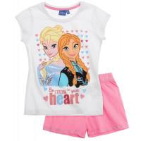 Pyžamo Disney Ľadové kráľovstvo s krátkym rukávom biela-ružová