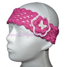 Detská háčkovaná čelenka ružová