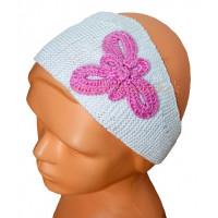 Detská pletená čelenka s motýlikom biela