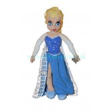 Háčkovaná ľadová princezná v bielo-modrých šatách