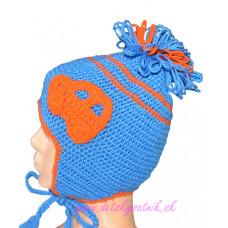 Detská háčkovaná čiapka s autíčkom