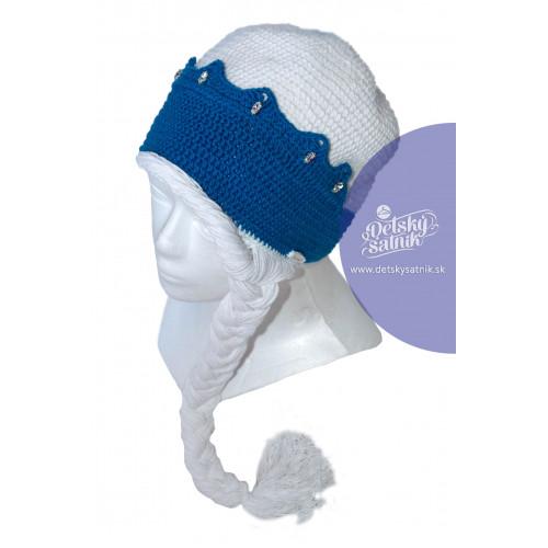 286604506 Detská háčkovaná čiapka s korunkou a vrkočom | Oblečenie pre deti