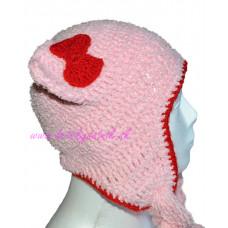 Detská háčkovaná čiapka s mašličkou ružová