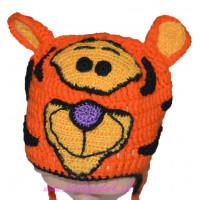 Detská háčkovaná čiapka s tigrom
