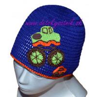 Detská háčkovaná čiapka s terénnym autom