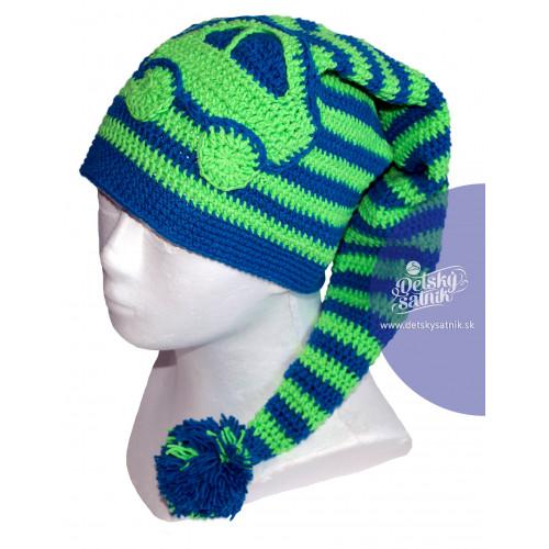 d654fc2c3 Detská zimná čiapka s brmbolcom zelené auto   Oblečenie pre deti