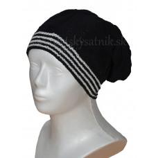 Pletená predĺžená čiapka čierna