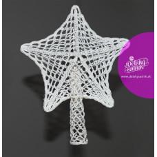 Biela háčkovaná 3D hviezda na stromček