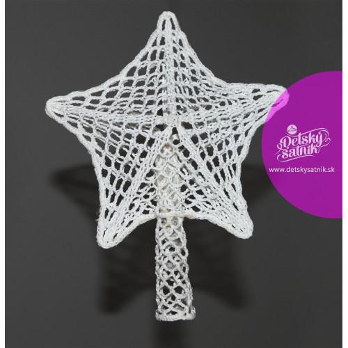Biela háčkovaná 3D hviezda na stromček 874f22d4db1