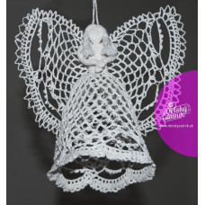 Háčkovaný anjelik biely 20cm