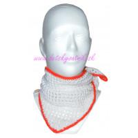 Detská háčkovaná šatka bielo-červená