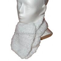 Detský pletený huňatý šál biely