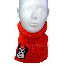 Detský pletený nákrčník s myškou červený