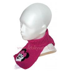 Detský pletený nákrčník s myškou ružový