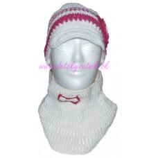Detská háčkovaná čiapka so šiltom a s nákrčníkom