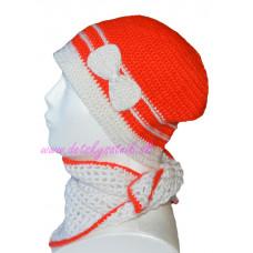 Detská háčkovaná čiapka s mašľou a so šatkou bielo-červená