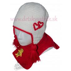 Detská háčkovaná čiapka a nákrčník biela-červená