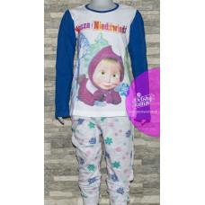 Pyžamo dievčenské Máša a Medveď dlhé modré