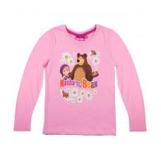 Tričko Máša a Medveď ružové dlhý rukáv č.128