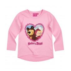 Tričko Máša a Medveď dlhý rukáv slabo ružová 128