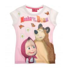 Tričko dievčenské Máša a Medveď biele