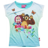 Tričko s krátkym rukávom Máša a Medveď modré