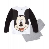 Pyžamo chlapčenské dlhé Mickey Mouse bielo-čierne