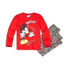 Pyžamo chlapčenské dlhé Mickey Mouse červeno-šedé