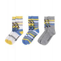 Chlapčenské ponožky Mimoni 3 kusy v balení pásikavé
