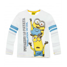 Chlapčenské tričko Mimoni s dlhým rukávom biele
