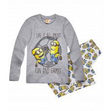 Pyžamo chlapčenské Mimoni s dlhým rukávom šedé