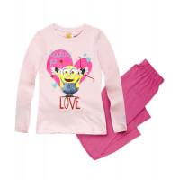 Pyžamo dievčenské s dlhým rukávom Mimoni ružové