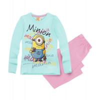 Pyžamo dievčenské s dlhým rukávom Mimoni modré